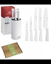 GERLACH SMART Noże w bloku + deska / 7 elementów / białe / GRATIS Torba prezentowa