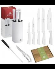 GERLACH SMART Noże w bloku + ostrzałka ABS, nożyce, deska / 9 elementów / białe / GRATIS Torba prezentowa