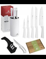GERLACH SMART Noże w bloku + ostrzałka 2w1, nożyce, deska / 9 elementów / białe / GRATIS Torba prezentowa