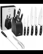 GERLACH FUSION Noże w bloku + ostrzałka ABS, nożyce / 8 elementów / drewno bukowe / GRATIS Torba prezentowa