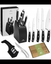 GERLACH FUSION Noże w bloku + ostrzałka 2w1, nożyce, deska / 9 elementów / drewno bukowe / GRATIS Torba prezentowa