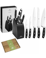 GERLACH FUSION Noże w bloku + deska / 7 elementów / drewno bukowe / GRATIS Torba prezentowa