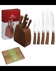 GERLACH COLONIAL Noże w bloku +deska / 7 elementów / drewno bukowe / GRATIS Torba prezentowa
