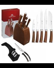 GERLACH COLONIAL Noże w bloku +ostrzałka 2w1, nożyce / 8 elementów / drewno bukowe / GRATIS Torba prezentowa