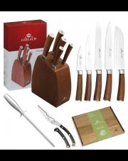 GERLACH COLONIAL Noże w bloku +ostrzałka ABS, nożyce, deska / 8 elementów / drewno bukowe / GRATIS Torba prezentowa