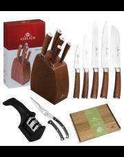 GERLACH COLONIAL Noże w bloku +ostrzałka 2w1, nożyce, deska / 8 elementów / drewno bukowe / GRATIS Torba prezentowa
