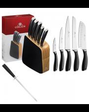 GERLACH LOFT Noże w bloku + ostrzałka ABS / 7 elementów / drewno / GRATIS Torba prezentowa