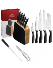 GERLACH LOFT Noże w bloku + ostrzałka ABS, nożyce / 8 elementów / drewno / GRATIS Torba prezentowa