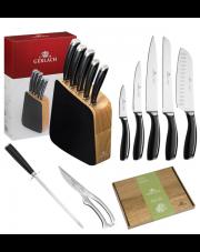 GERLACH LOFT Noże w bloku + ostrzałka ABS, nożyce, deska / 9 elementów / drewno / GRATIS Torba prezentowa